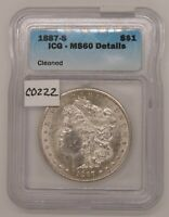 1887 S MORGAN SILVER DOLLAR, ICG MINT STATE 60 DTL, UNCIRCULATED, CERTIFIED, C222