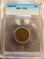 1908-S INDIAN HEAD CENT 1C PENNY, ICG F-12