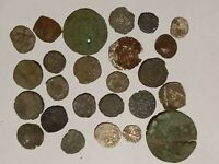 MEDIEVAL COPPER SILVER PLATED AND SILVER COINS LOT OF 25 PCS