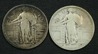 LOT OF 2 1917 TYPE 1 STANDING LIBERTY SILVER QUARTERS ONE IS CLEANED