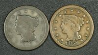 LOT OF 2 BRAIDED HAIR COPPER LARGE CENTS: 1851 & 1852