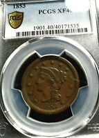 1853 LARGE CENT BRAIDED HAIR PCGS EXTRA FINE -40  HIGH GRADE WITH GREAT EYE APPEAL