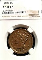 1848 LARGE CENT BRAIDED HAIR NGC EXTRA FINE -40 BN  HIGH GRADE WITH GREAT EYE APPEAL