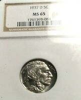 1937-D BUFFALO NICKEL MINT STATE 65 NGC OH GORGEOUS BLAST WHITE HIGH GRADE BEAUTY