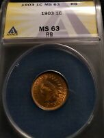 1903 INDIAN HEAD CENT 1C ANACS MINT STATE 63 RB BRILLIANT UNCIRCULATED HIGH GRADE BEAUTY