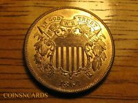 1864 TWO CENT SHIELD LARGE MOTTO FIRST YEAR LUSTROUS UNCIRCU