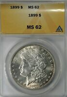 1899 P MORGAN SILVER DOLLAR ANACS MINT STATE 62 -  AFFORDABLE EXAMPLE