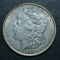 1901-P $1 MORGAN SILVER DOLLAR  AU ALMOST UNC   NOW  DATE TRUSTED