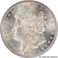 1896-S MORGAN SILVER DOLLAR PCGS MINT STATE 62 - OLD GREEN HOLDER - LUSTROUS AND WHITE