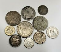 10  PC LOT OF SILVER WORLD COINS