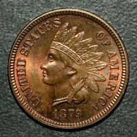 1879 INDIAN HEAD CENT  AU ALMOST UNCIRCULATED  1C UNC HAZE M873 TRUSTED