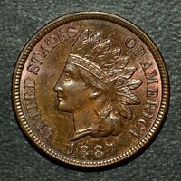 1887 INDIAN HEAD CENT  AU ALMOST UNCIRCULATED  1C UNC  O875 TRUSTED