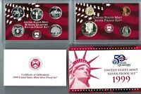 1999 S US 90  SILVER PROOF SET SILVER QUARTERS 9 COIN SET CO