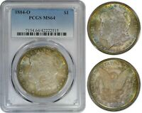 USA $1 1884-O SILVER PCGS MINT STATE 64 COLORFUL 2-SIDED TONING