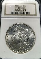 CHOICE MINT STATE 65 1902-O MORGAN SILVER DOLLAR NGC MINT STATE 65 OH  BLAST WHITE FROSTY GEM