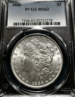 CHOICE 1886 MORGAN SILVER DOLLAR PCGS MINT STATE 63 BEAUTIFUL FROSTY BETTER DATE COIN
