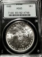 CHOICE 1886 MORGAN SILVER DOLLAR PCGS MINT STATE 65 OGH  2ND GEN. EXQUISITE FROSTY GEM