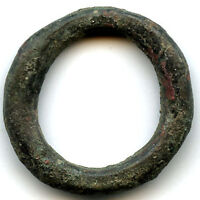 HUGE  29 MM 11.06 G.  AUTHENTIC BRONZE ANCIENT CELTIC RING MONEY 800 500 BC