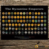 THE BYZANTINE EMPERORS   COIN WALL POSTER
