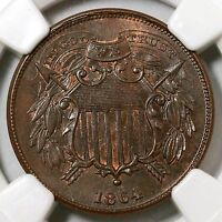 1864 NGC MINT STATE 64 BN SMALL MOTTO TWO CENT PIECE 2C