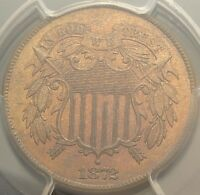1872 TWO CENT PIECE PCGS MINT STATE 65 RED BROWN GEM UNCIRCULATED UNC RB KEY DATE 2C