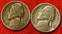 1942 P S JEFFERSON WAR NICKELS 2 COINS 35 SILVER COLLECTOR GIFT JN177