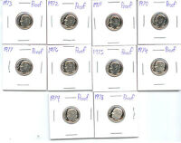 1970 THRU 1979 PROOF DIMES  10 CAMEO COINS   A