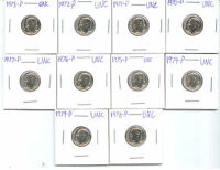 1970 P THRU 1979 P BU DIMES  10  COINS FROM MINT SETS  A
