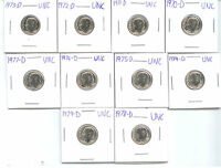 1970 D THRU 1979 D BU DIMES 10 COINS FROM MINT SETS A