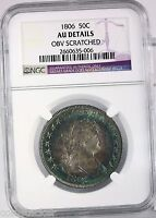 1806 DRAPED BUST 50C NGC CERTIFIED AU DETAILS GRADED COLORFUL TONED HALF DOLLAR