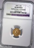 1855 INDIAN PRINCESS G$1 NGC CERTIFIED AU DETAILS TYPE 2 BUSINESS STRIKE COIN