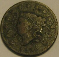 1820 OVER 19 SMALL DATE CORONET HEAD LARGE CENT PENNY   CIRCULATED CONDITION