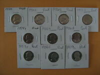 1970 S THRU 1979 S PROOF JEFFERSON NICKELS  10 COINS  A