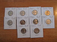 1980 S THRU 1989 S PROOF JEFFERSON NICKELS  10 COINS  A