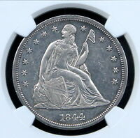 1844 SEATED LIBERTY DOLLAR $1 NGC UNC DETAILS   UNCIRCULATED MS BU   !!!
