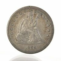 RAW 1859 SEATED LIBERTY 25C UNCERTIFIED UNGRADED NO MOTTO SILVER QUARTER COIN