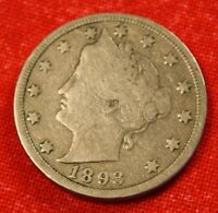 1893 LIBERTY V NICKEL VG  DATE BEAUTIFUL COLLECTOR COIN GIFT  LN306