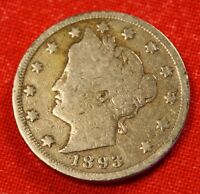 1893 LIBERTY V NICKEL G  DATE BEAUTIFUL COLLECTOR COIN GIFT  LN309