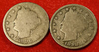 1896 1898 LIBERTY V NICKEL G  DATES COLLECTOR COIN  LN365