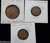 LOT OF 3 1830 SHIPS COLONIES COMMERCE PRICE EDWARD ISLAND TOKEN AND