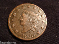 1820 CORONET HEAD LARGE CENT SMALL DATE XF AU LOW COST / LOW SHIPPING!