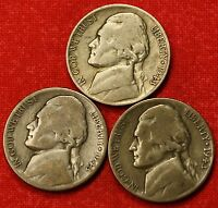 1943 PDS JEFFERSON WAR NICKELS 3 COINS 35 SILVER GREAT COLLECTOR GIFT JN184