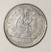 RAW 1839 SEATED LIBERTY 25C UNCERTIFIED UNGRADED FIRST YEAR OF ISSUE SILVER COIN