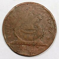 1787 N  1L R 5 CROSS AFTER DATE FUGIO COLONIAL COPPER COIN