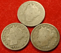 1897, 1898, 1899 LIBERTY V NICKEL G  DATES COLLECTOR, 3 COINS LN417