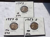 LINCOLN CENTS 1953,1953 D,1953 SSET L 329 CIRCULATED
