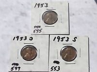LINCOLN CENTS 1953,1953 D,1953 SSET L 330 CIRCULATED