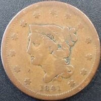 1841 BRAIDED HAIR LARGE CENT! WOULD LOOK GREAT IN YOUR COIN ALBUM!