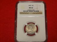 1893 LIBERTY V NICKEL NGC MINT STATE 64 BETTER DATE 5C