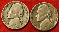 1942 P S JEFFERSON WAR NICKELS 2 COINS 35 SILVER COLLECTOR GIFT JN175